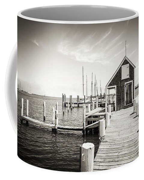 Martha Coffee Mug featuring the photograph Black And White Photography - Martha's Vineyard - Black Dog Wharf by Alexander Voss