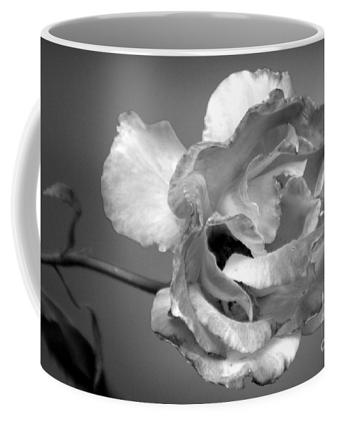 Rose Coffee Mug featuring the photograph Black And White Rose by Melanie Rainey