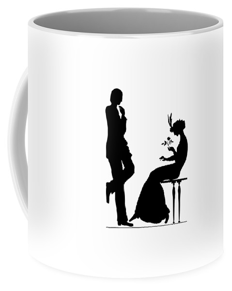 Man And Woman Coffee Mug featuring the digital art Black And White Silhouette Of A Man Giving A Woman A Flower by Rose Santuci-Sofranko
