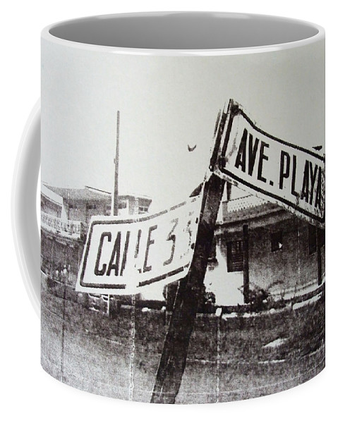 Street Sign Coffee Mug featuring the painting Black And White Street Sign by David Studwell