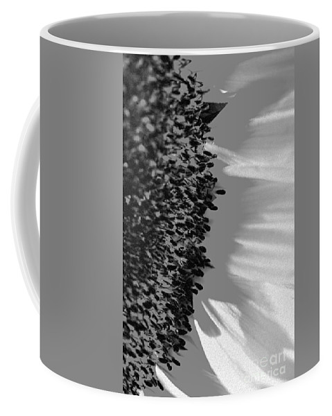 Anther Coffee Mug featuring the photograph Black And White Sunflower by Deborah Benbrook