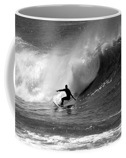 Black And White Coffee Mug featuring the photograph Black And White Surfer by Paul Topp