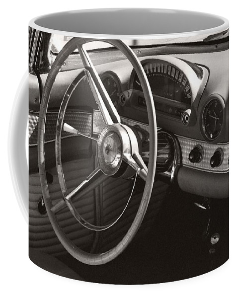 Black Coffee Mug featuring the photograph Black And White Thunderbird Steering Wheel And Dash by Heather Kirk