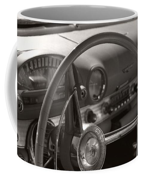 Black And White Photography Coffee Mug featuring the photograph Black And White Thunderbird Steering Wheel by Heather Kirk