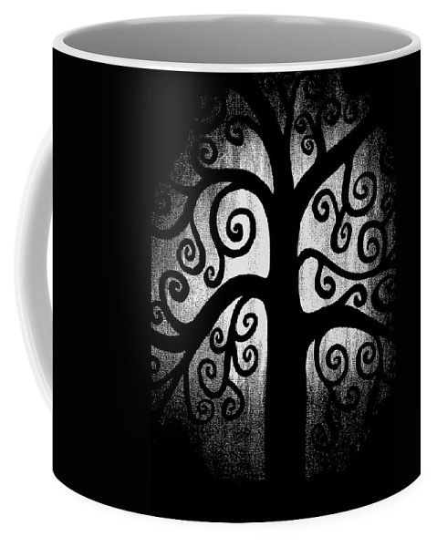 Black And White Coffee Mug featuring the painting Black And White Tree by Angelina Vick