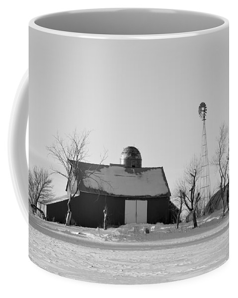Black And White Coffee Mug featuring the photograph Black And White Winter by Bonfire Photography