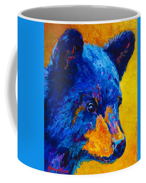 Bear Coffee Mug featuring the painting Black Bear Cub 2 by Marion Rose