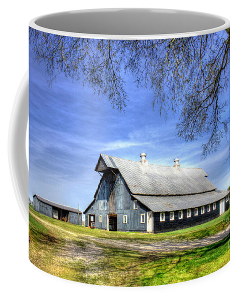 Reid Callaway Forgotten Windows Coffee Mug featuring the photograph White Windows Historic Hopkinsville Kentucky Barn Art by Reid Callaway