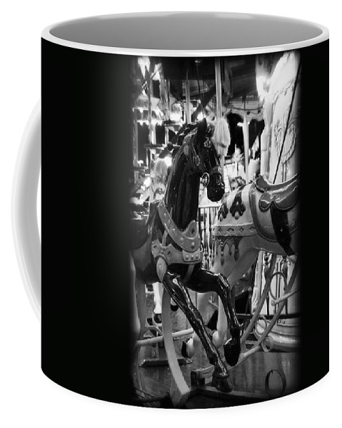 Carousel Coffee Mug featuring the photograph Black Carousel Horse by Tammy Wetzel