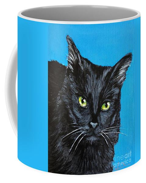 Cat Coffee Mug featuring the painting Black Cat by Charleena Treanor