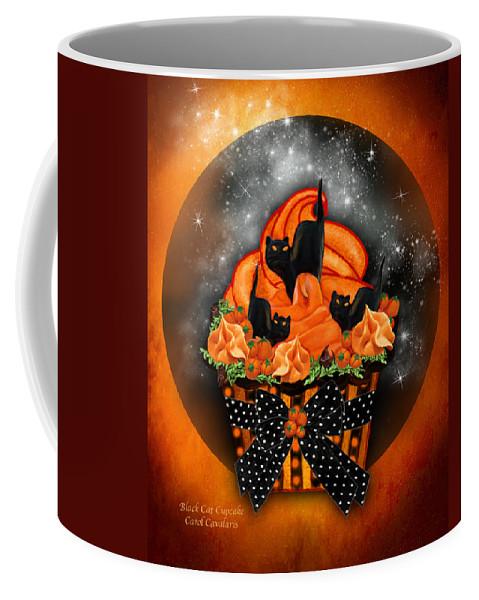 Halloween Art Coffee Mug featuring the mixed media Black Cat Cupcake by Carol Cavalaris