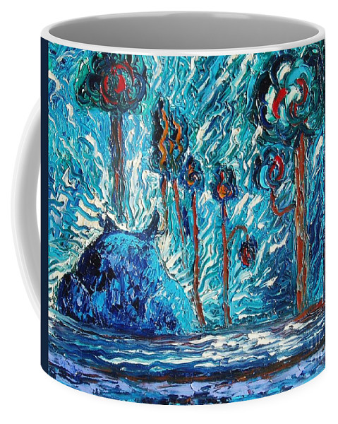 Abstract Cat Paintings Coffee Mug featuring the painting Black Cat by Seon-Jeong Kim