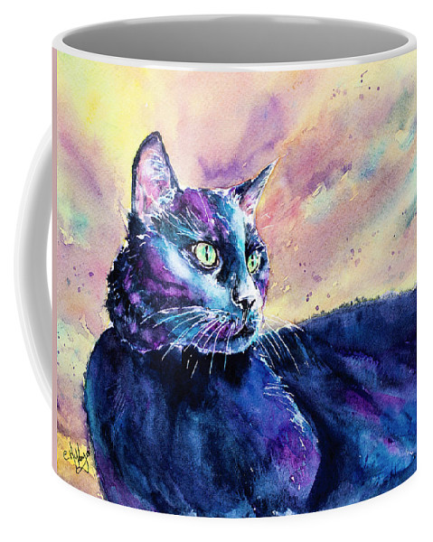 Cat Coffee Mug featuring the painting Black Cutie by Carrie McKenzie