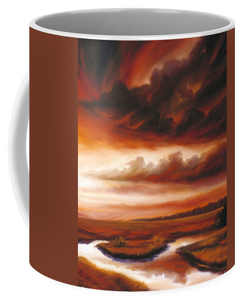 Contemporary Coffee Mug featuring the painting Black Fire by James Christopher Hill