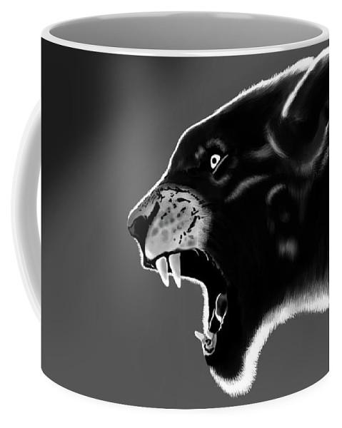 Tiger Coffee Mug featuring the painting Black Glow Tiger by Krishna Kukade