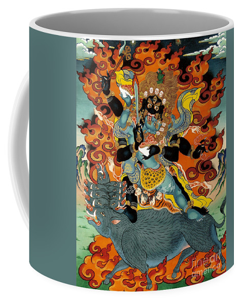 Thangka Coffee Mug featuring the painting Black Hayagriva by Sergey Noskov