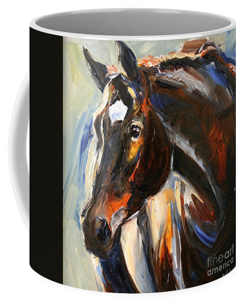 Black Horse Coffee Mug featuring the painting Black Horse Oil Painting by Maria Reichert