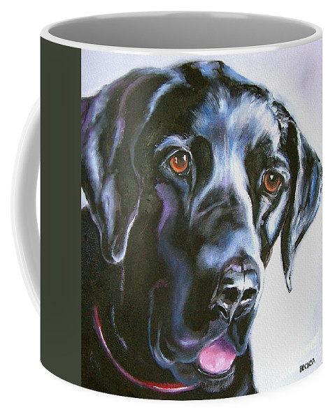 Dogs Coffee Mug featuring the painting Black Lab No Ordinary Love by Susan A Becker