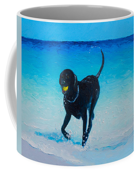 Beach Coffee Mug featuring the painting Black Labrador Painting by Jan Matson