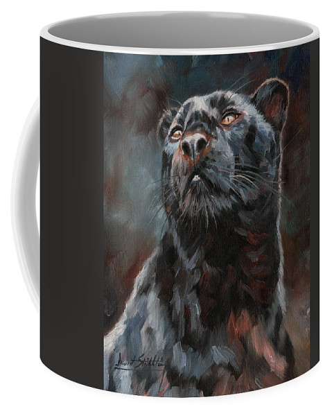 Black Coffee Mug featuring the painting Black Leopard by David Stribbling