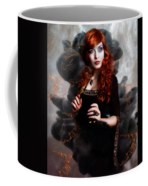 Woman Coffee Mug featuring the digital art Black Magic by Karen Koski