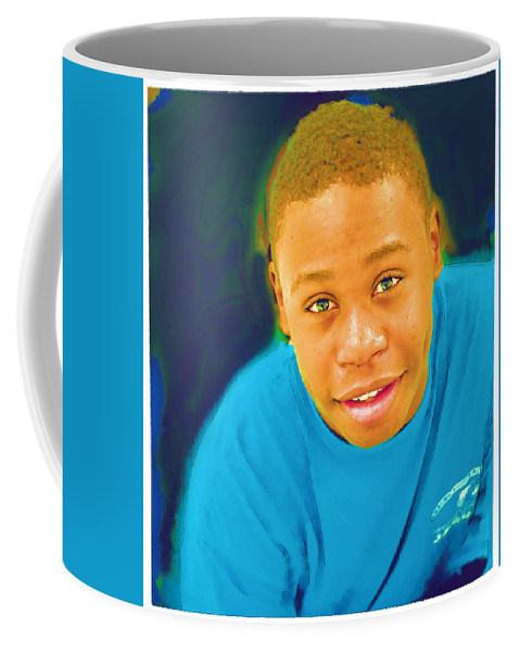 Black Coffee Mug featuring the photograph Young Black Male Teen 5 by Ginger Wakem