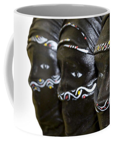 Black Coffee Mug featuring the photograph Black Masks by Svetlana Sewell
