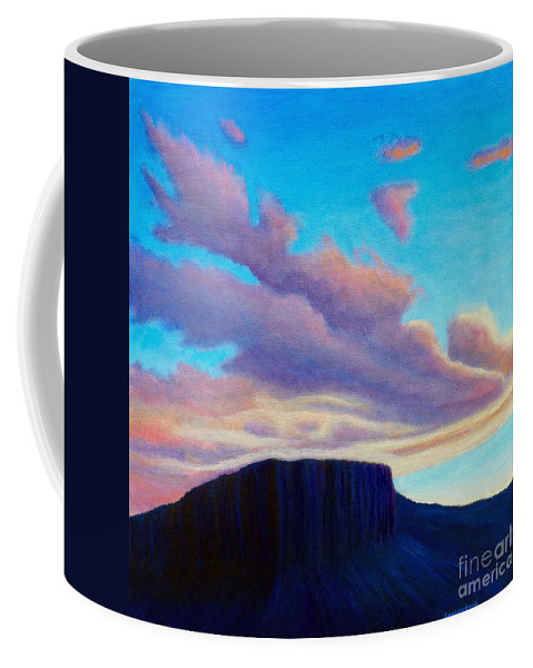 Landscape Coffee Mug featuring the painting Black Mesa Sunset by Brian Commerford