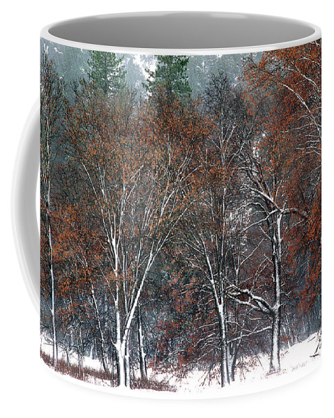 Black Oaks Coffee Mug featuring the photograph Black Oaks In Snowstorm Yosemite National Park by Dave Welling