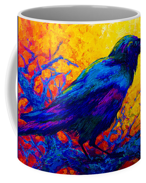 Crows Coffee Mug featuring the painting Black Onyx - Raven by Marion Rose