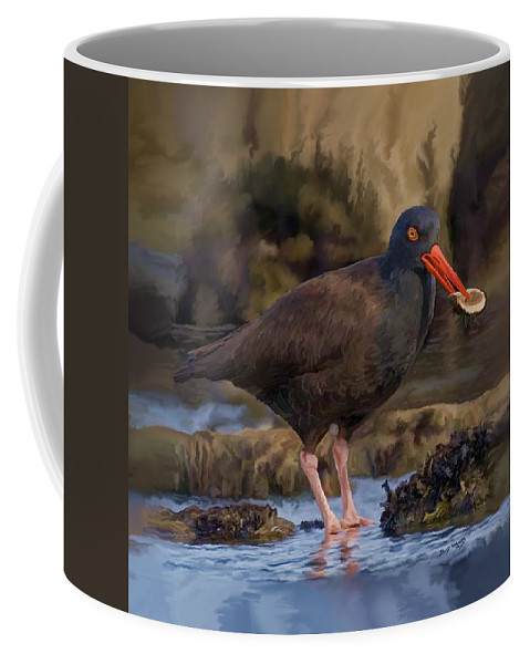 Black Oyster Catcher Coffee Mug featuring the painting Black Oyster Catcher by David Wagner