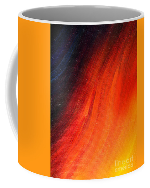 Abstract Art Coffee Mug featuring the painting Black-red-yellow Abstract by Sofia Metal Queen