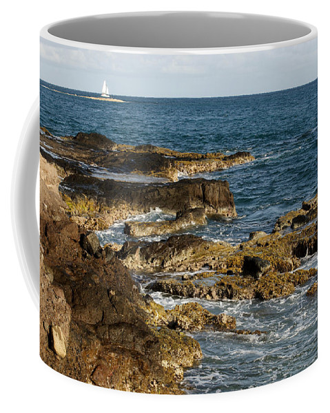 Sailboat Coffee Mug featuring the photograph Black Rock Point And Sailboat by Jean Macaluso