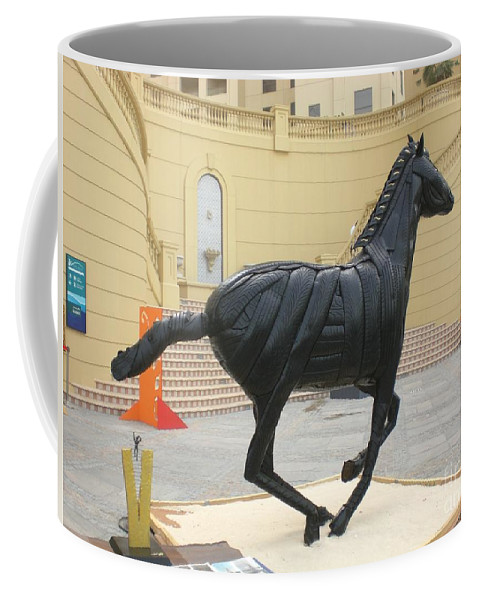 Horse Coffee Mug featuring the sculpture Black Stalion Tyre Sculpture by Mo Siakkou-Flodin