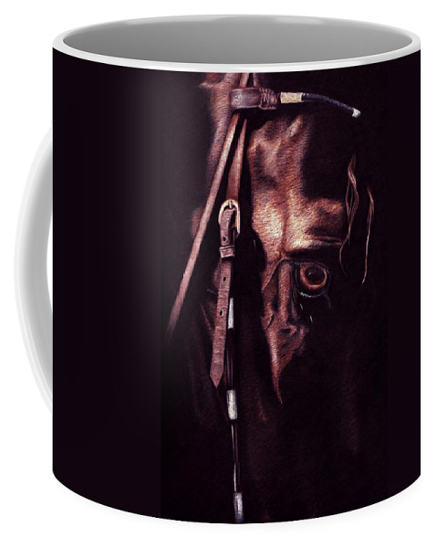 Horse Coffee Mug featuring the drawing Black Sterling II by Kristen Wesch