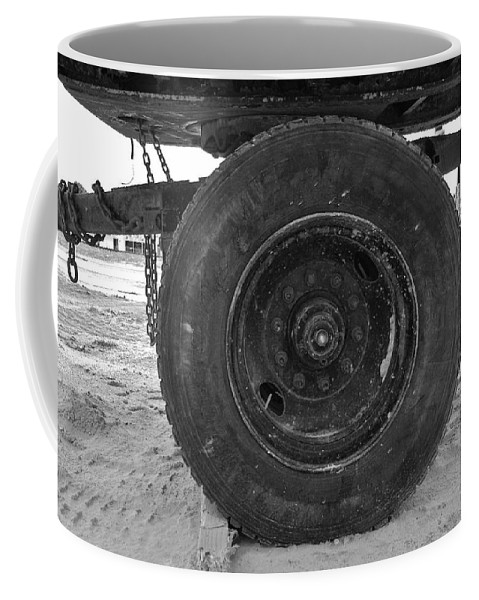 Black And White Coffee Mug featuring the photograph Black Wheel by Rob Hans