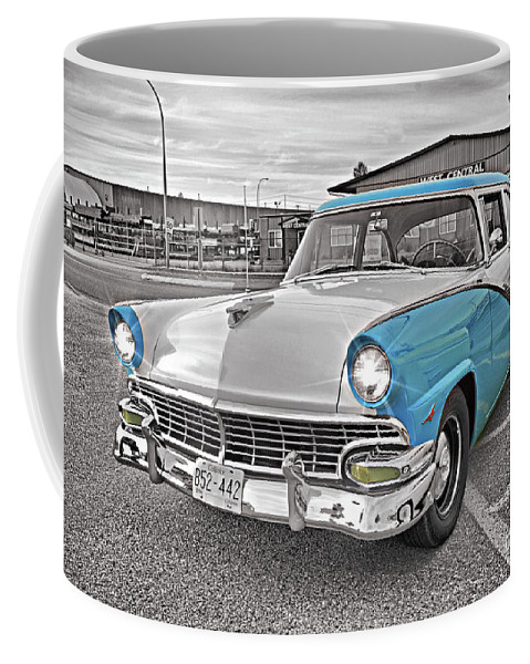 Cars Coffee Mug featuring the photograph Black White And Blue by Randy Harris
