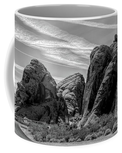 Valley Of Fire Coffee Mug featuring the photograph Black White Valley Of Fire by Chuck Kuhn