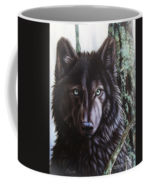 Wolves Coffee Mug featuring the painting Black Wolf by Sandi Baker