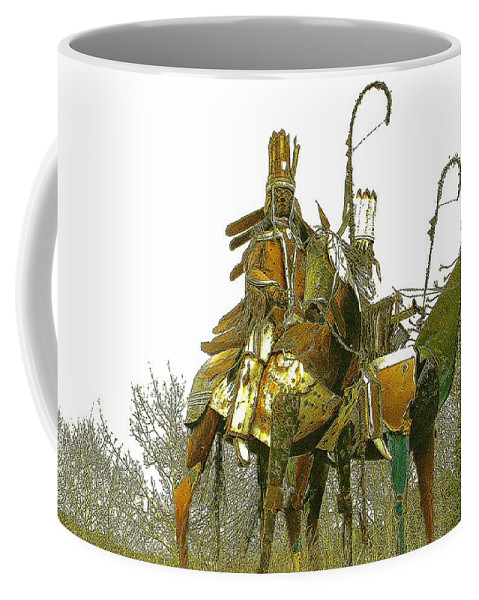 Native American Coffee Mug featuring the photograph Blackfeet Wariors by Nelson Strong