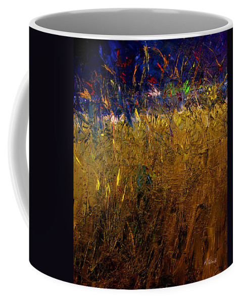 Abstract Coffee Mug featuring the painting Blades Of Grass by Ruth Palmer