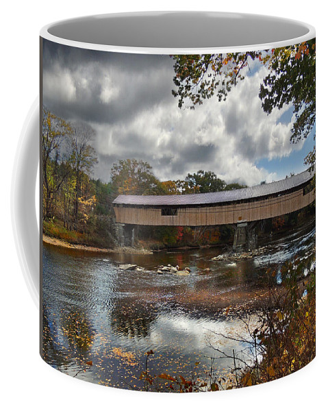 River Coffee Mug featuring the photograph Blair Covered Bridge by Nancy Griswold