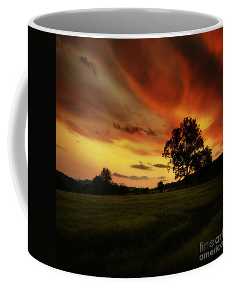 Sunset Coffee Mug featuring the photograph Blazing Skies by Angel Ciesniarska