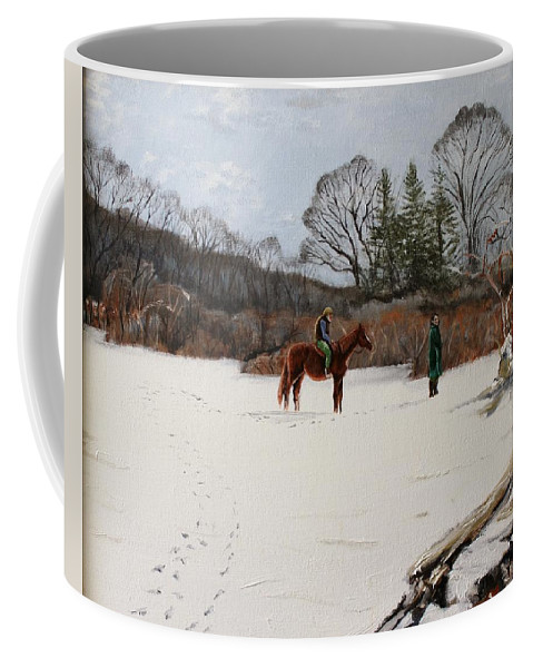 Landscape Coffee Mug featuring the painting Bleeding Hearts by Thomas J Nixon