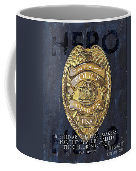 Police Coffee Mug featuring the painting Blessed are the Peacemakers by Debbie DeWitt