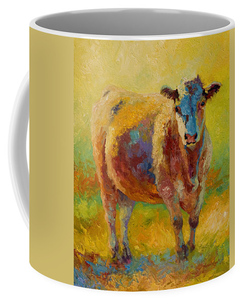 Western Coffee Mug featuring the painting Blondie - Cow by Marion Rose