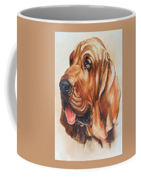 Purebred Coffee Mug featuring the painting Bloodhound by Barbara Keith