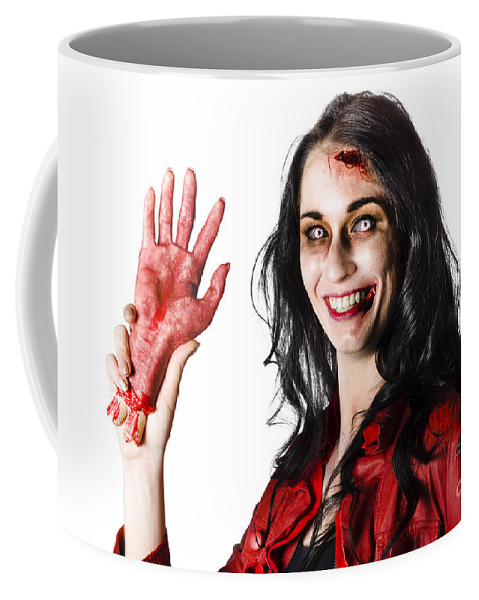 Awful Coffee Mug featuring the photograph Bloody Zombie Woman With Severed Hand by Jorgo Photography - Wall Art Gallery