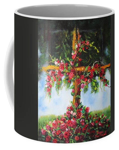 Cross Coffee Mug featuring the painting Blooming Cross by Vesna Martinjak