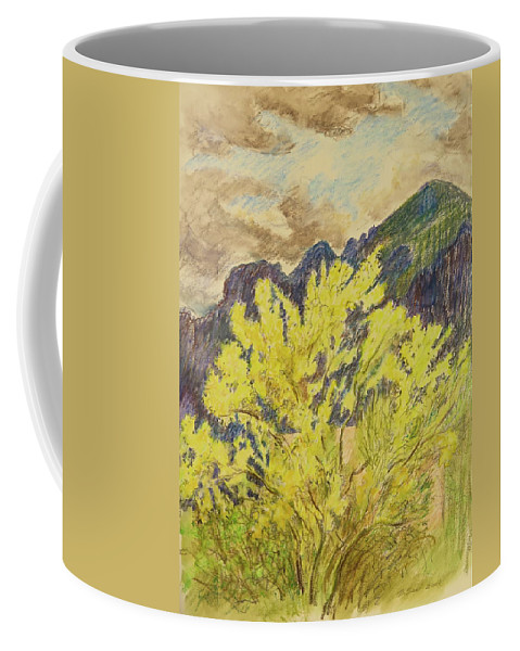 Landscape Coffee Mug featuring the drawing Blooming Palo Verde by Bonnie See